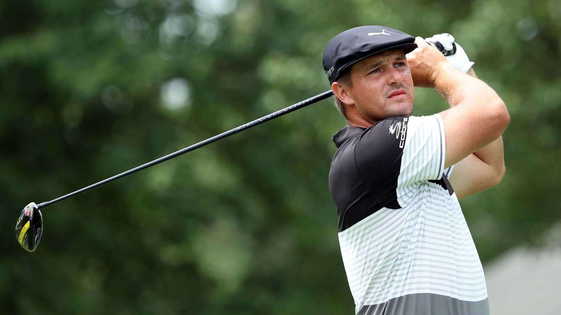 Pro golfer Bryson DeChambeau hits drive