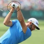 dustin johnson at the top of the backswing