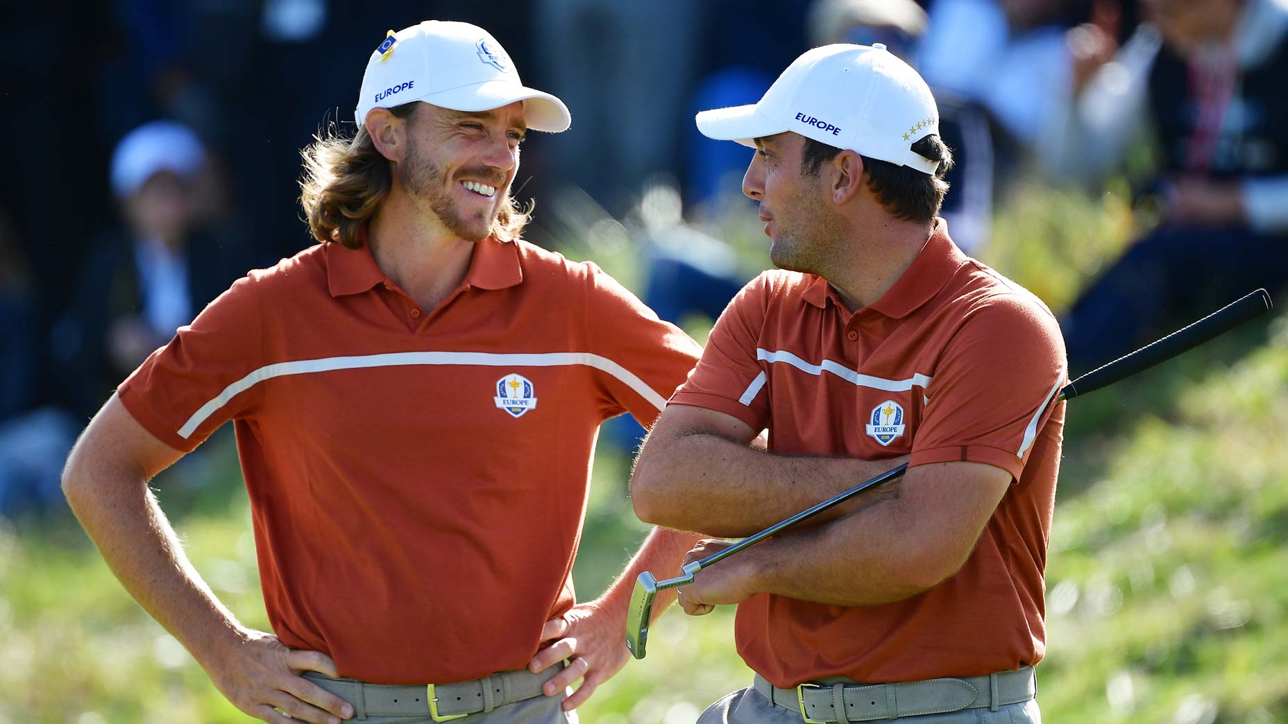 tommy fleetwood and fransesco molinari laugh