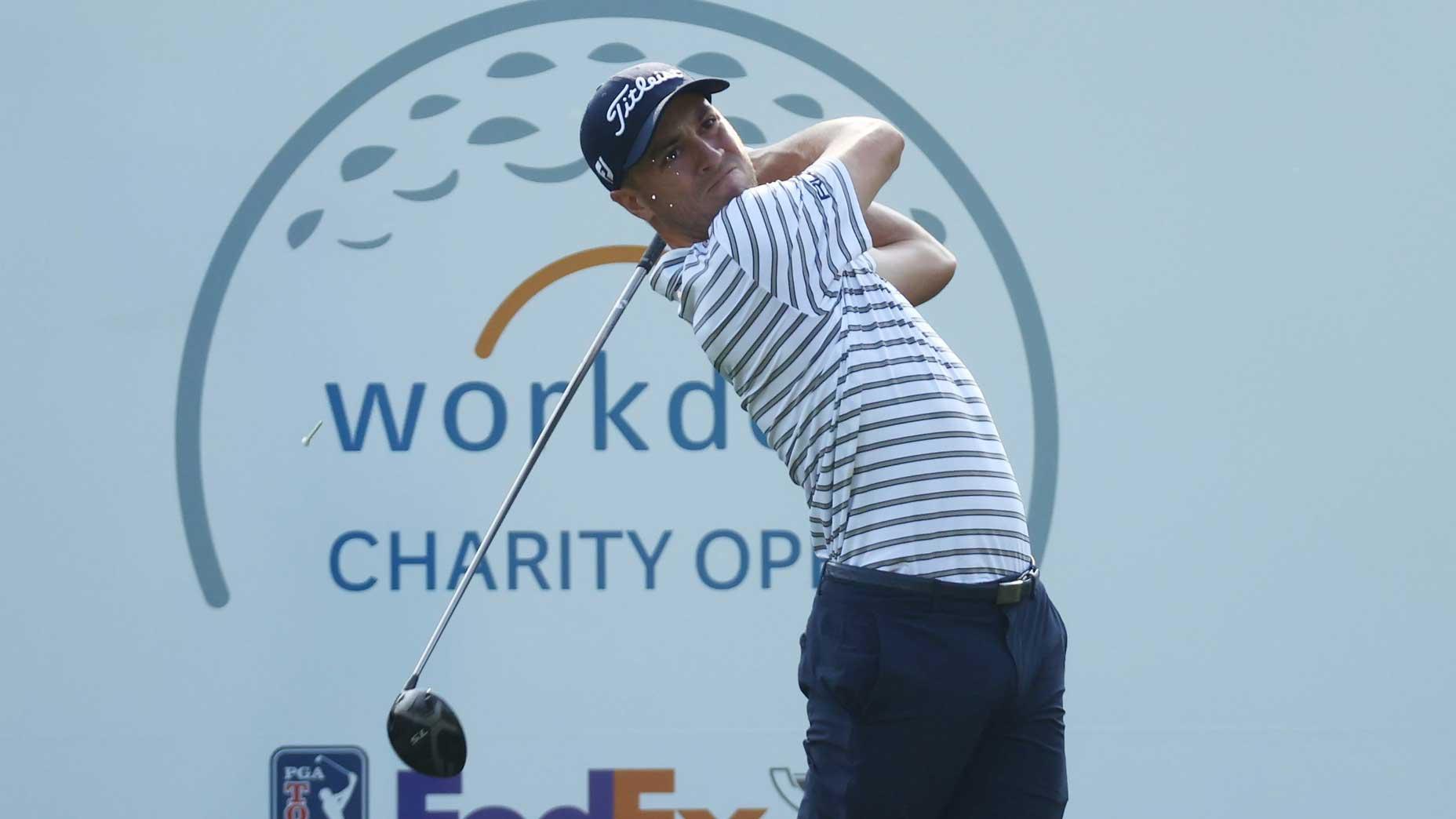 Pro golfer Justin Thomas hits drive