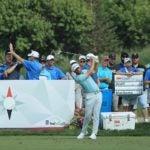 Pro golfer Matthew Wollf hits drive