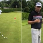 Pro golfer Padraig Harrington demonstrates golf drill