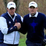 Phil Mickelson and Keegan Bradley at the 2014 Ryder Cup.