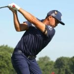 Pro golfer Rickie Fowler hits drive