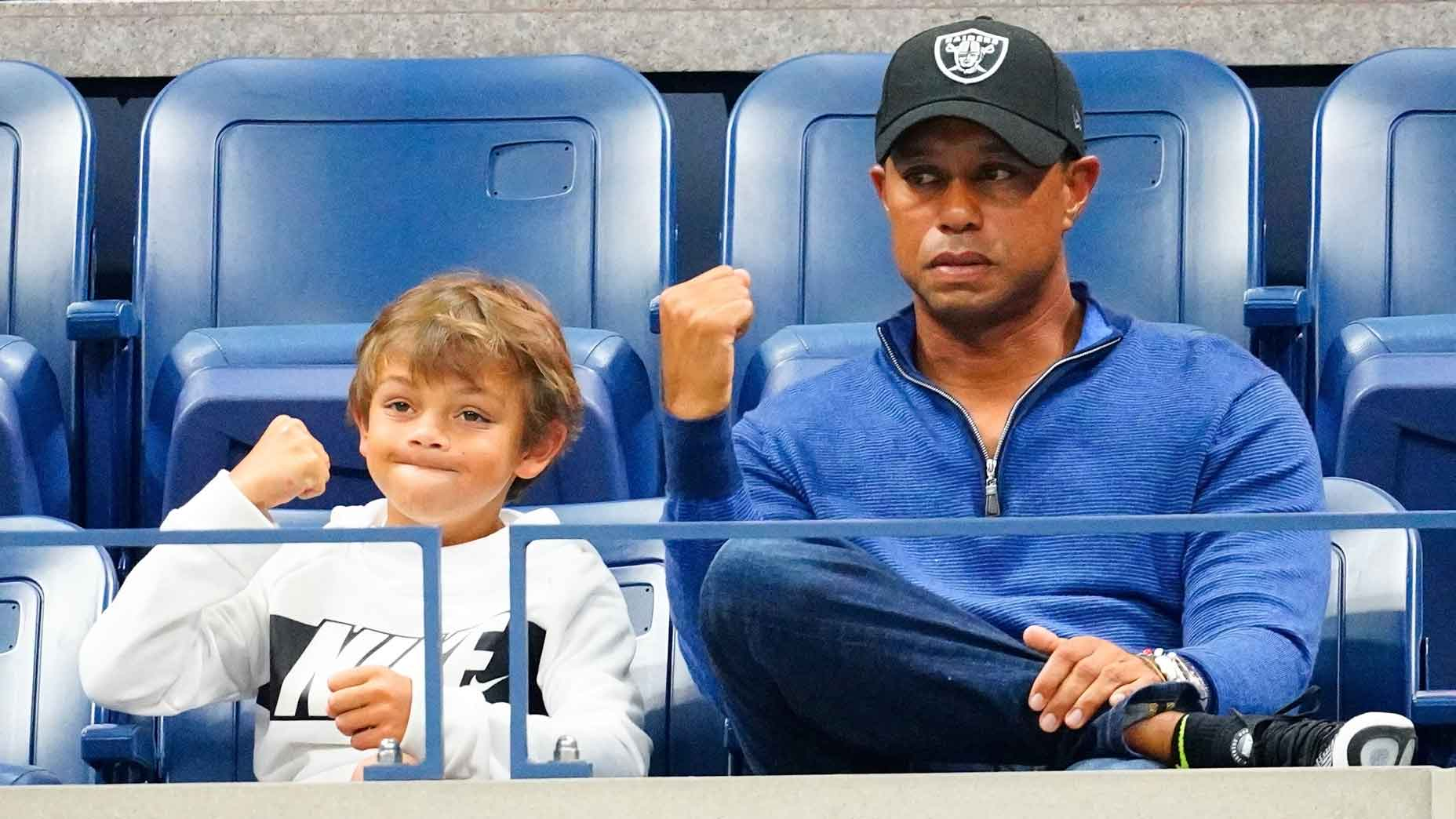 Tiger Woods and Charlie Woods at U.S. Open