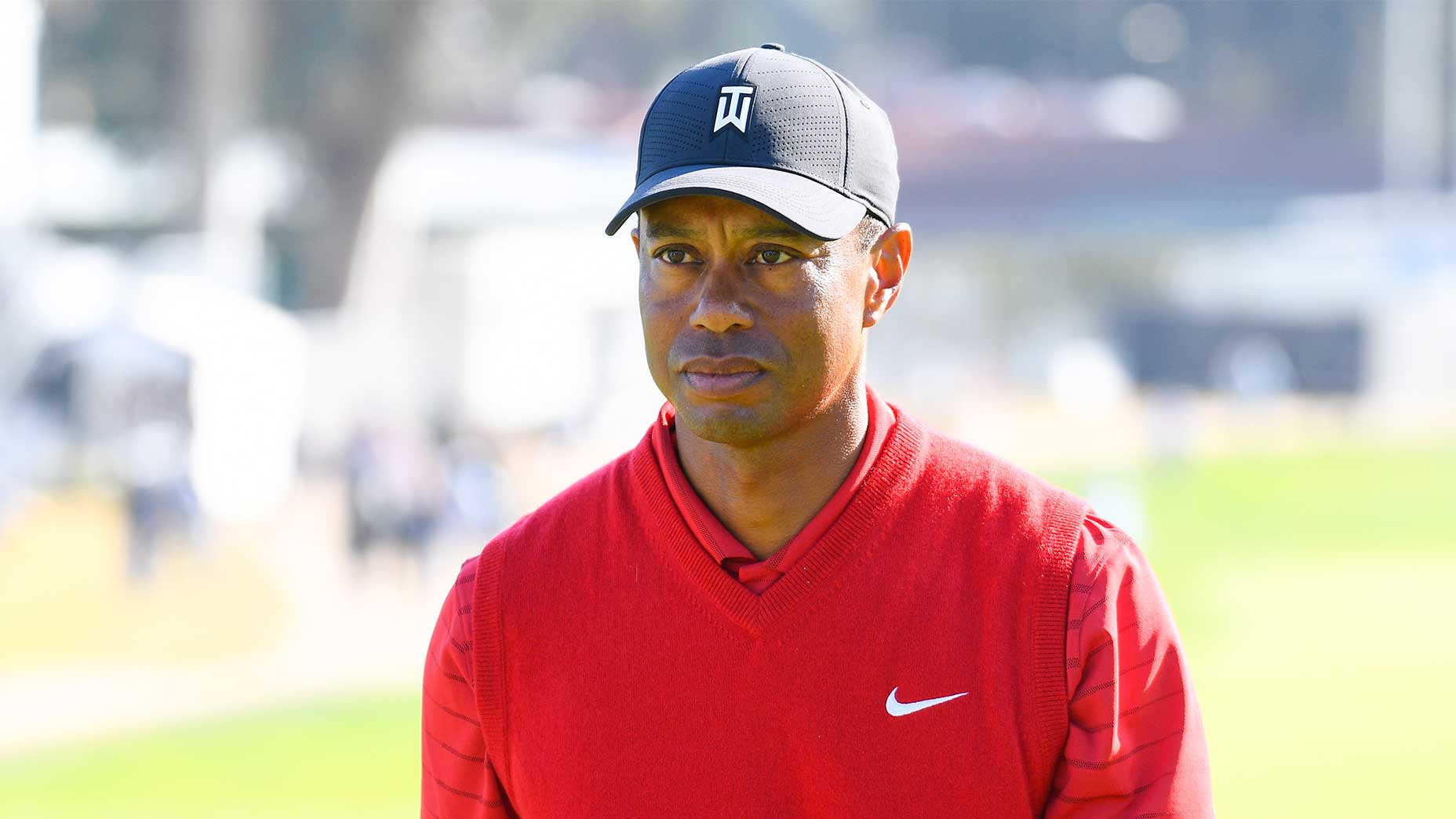 tiger woods looks on genesis invitational