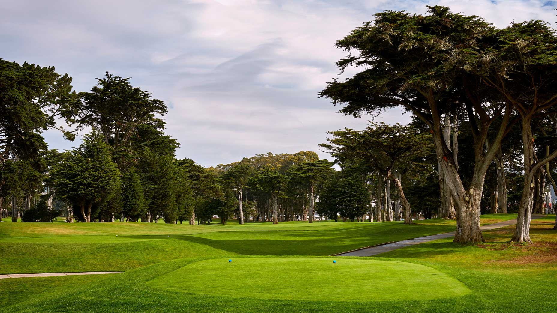 The 607-yard, par-5 4th hole at TPC Harding Park in 2018.