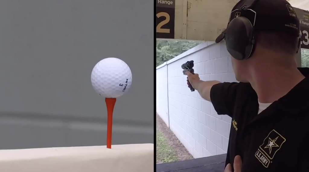 What a golf ball looks like when it's shot by an Army marksman