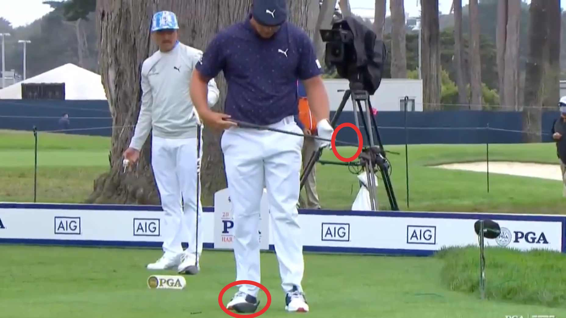 Bryson DeChambeau stares at broken driver shaft