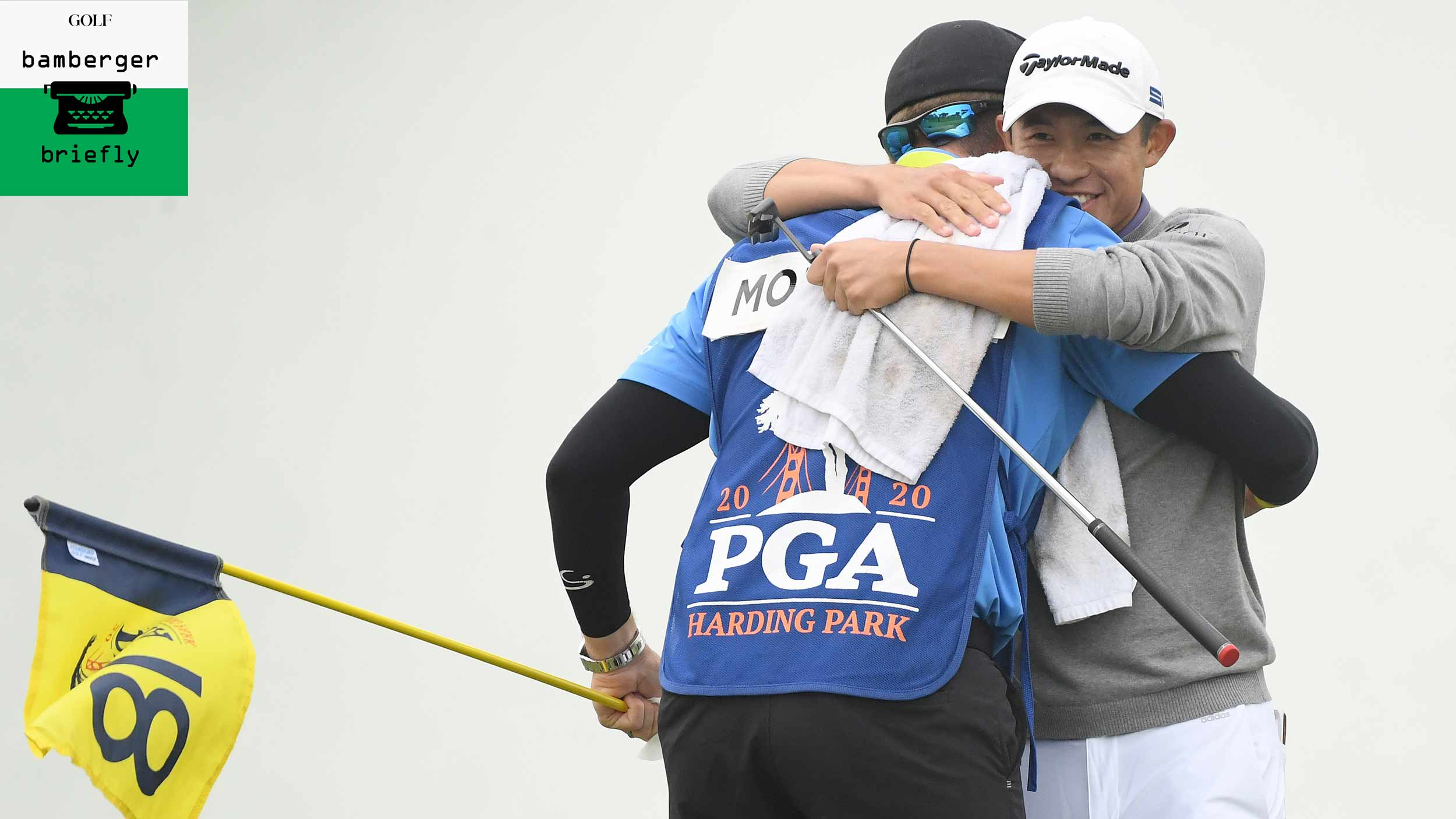 collin morikawa hugs his caddie at pga championship