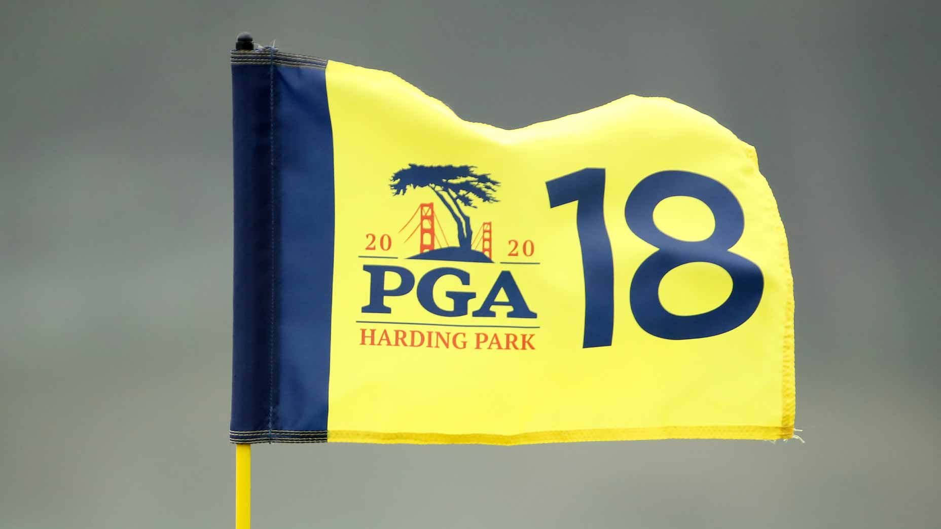 a flag waves at TPC harding park