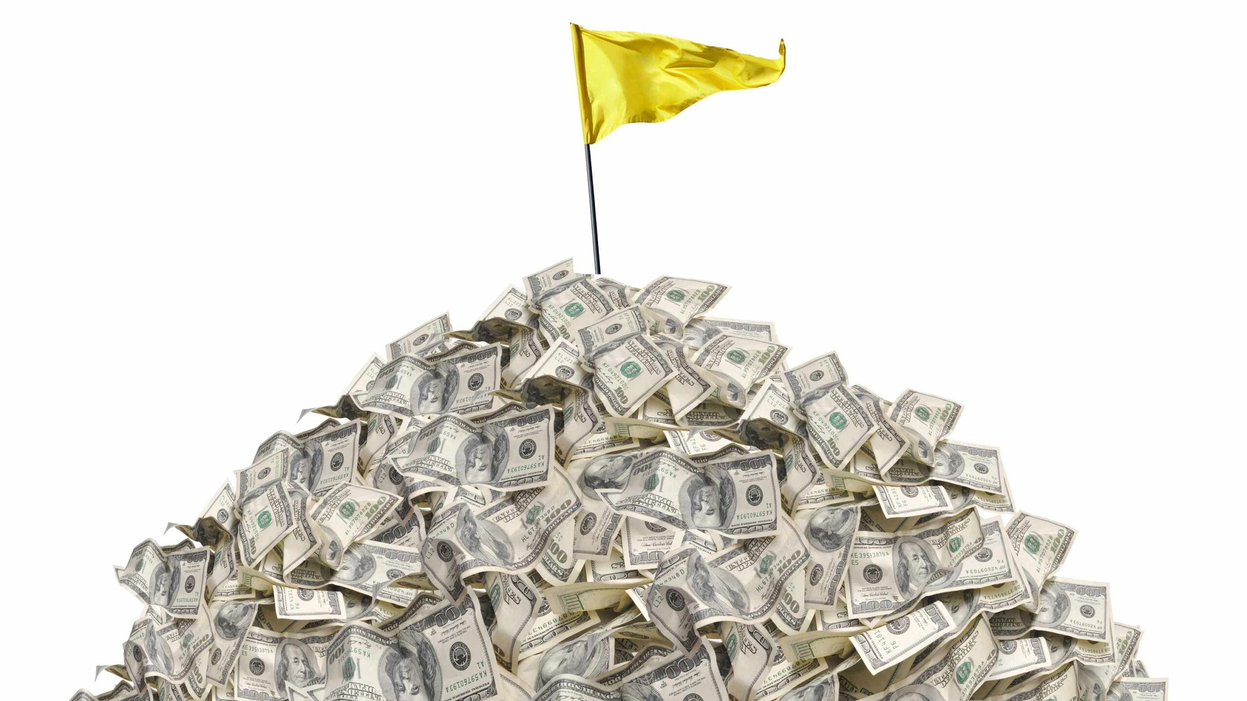 pile of cash with flagstick in it