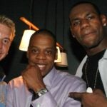Ricky Barnes, Jay-Z and LeBron James at the launch of Jay-Z's 40/40 club in New York City on June 18, 2003.