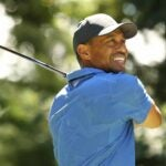 Tiger Woods hits drive at Northern Trust tournament