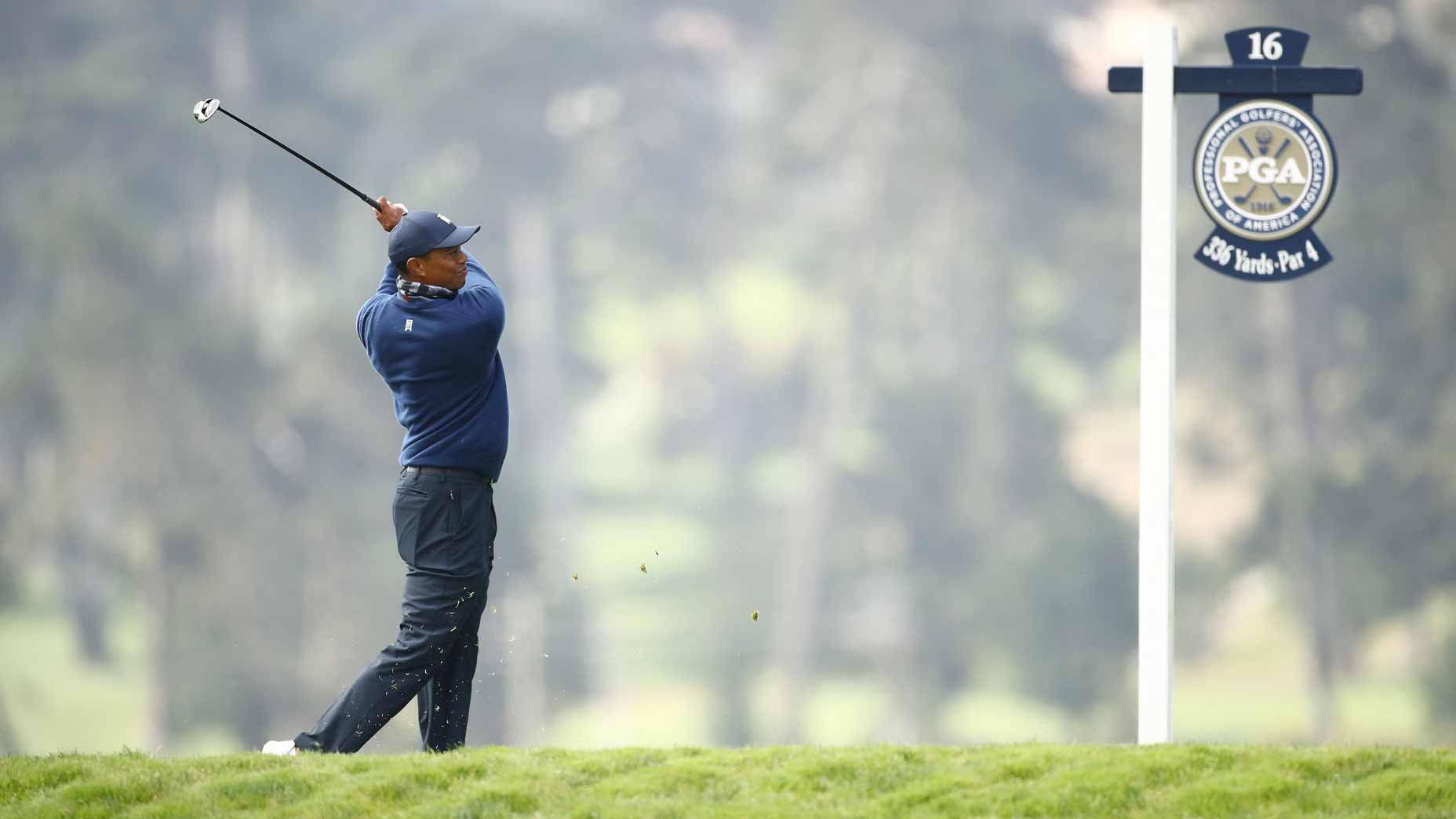 Tiger Woods hits shot at PGA Championship