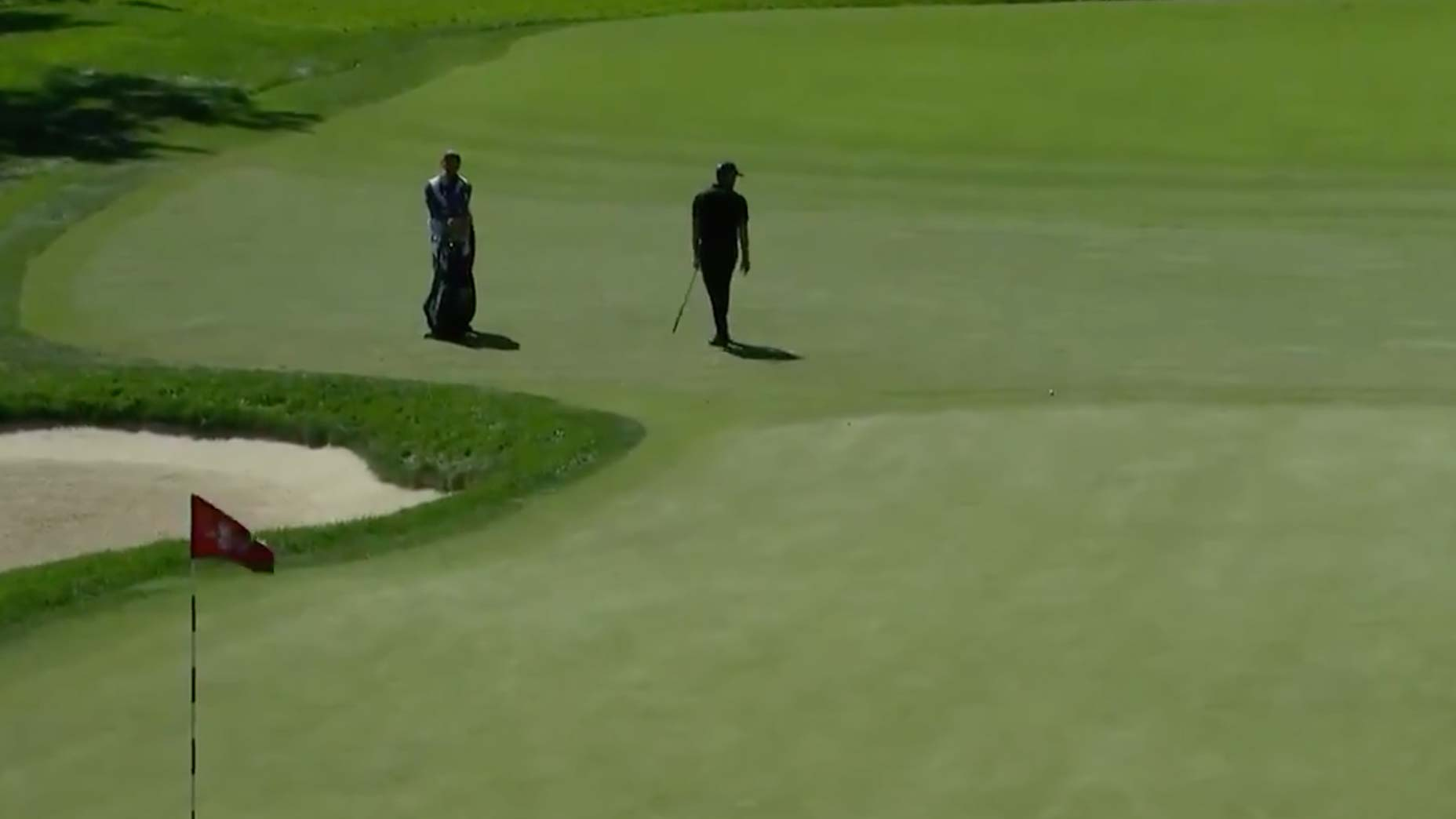 WATCH: Patrick Cantlay's shot hits flagstick, gets the absolute worst break