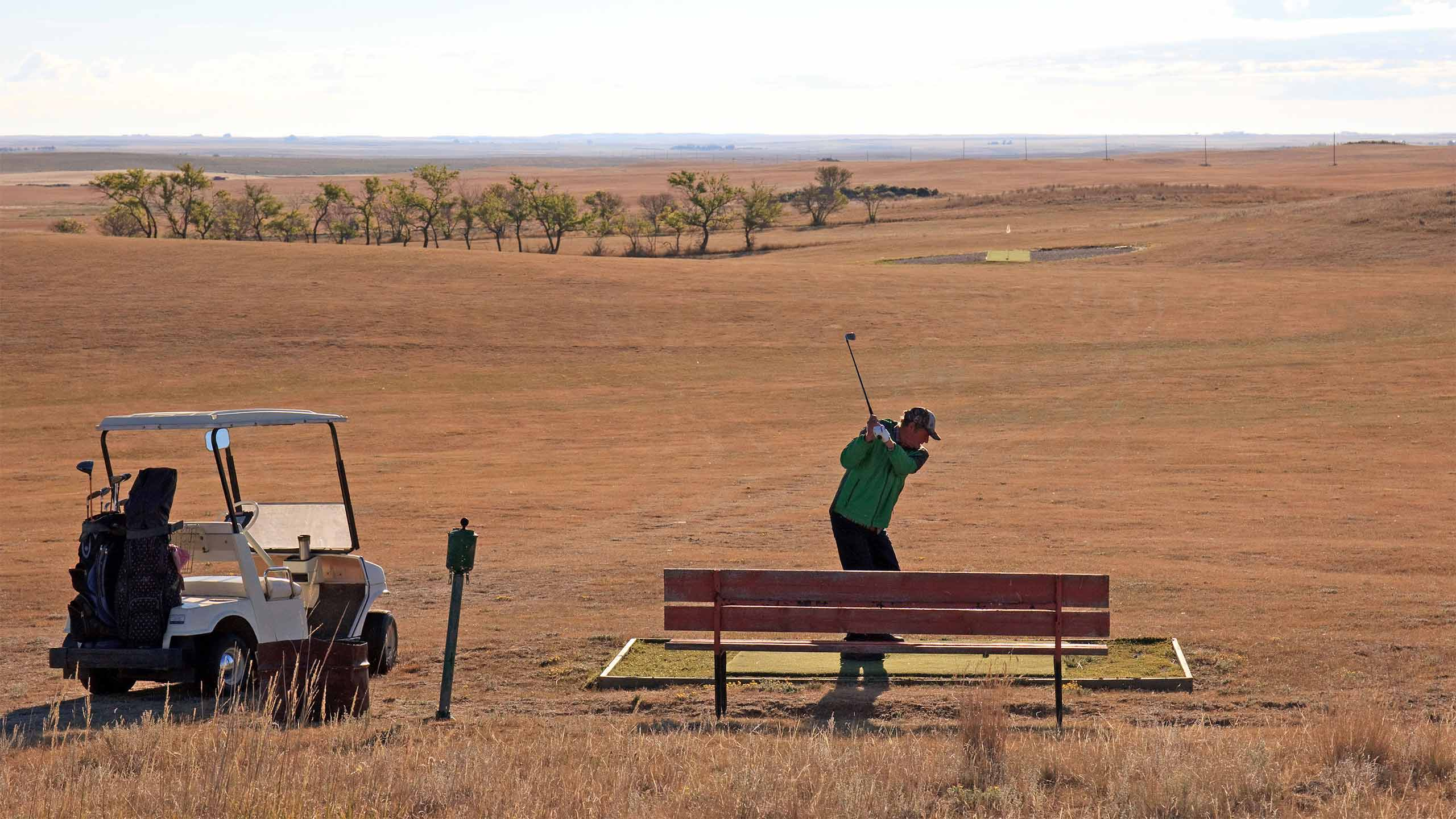 Howard teeing off in Saskatchewan.