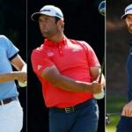 Pro golfers Justin Thomas, Jon Rahm and Dustin Johnson