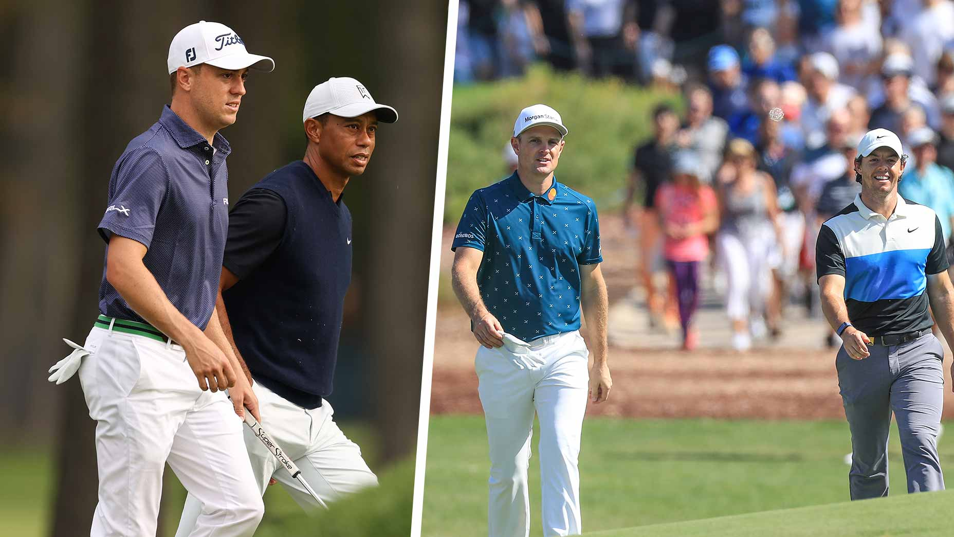 tiger justin thomas rory mcilroy justin rose walking