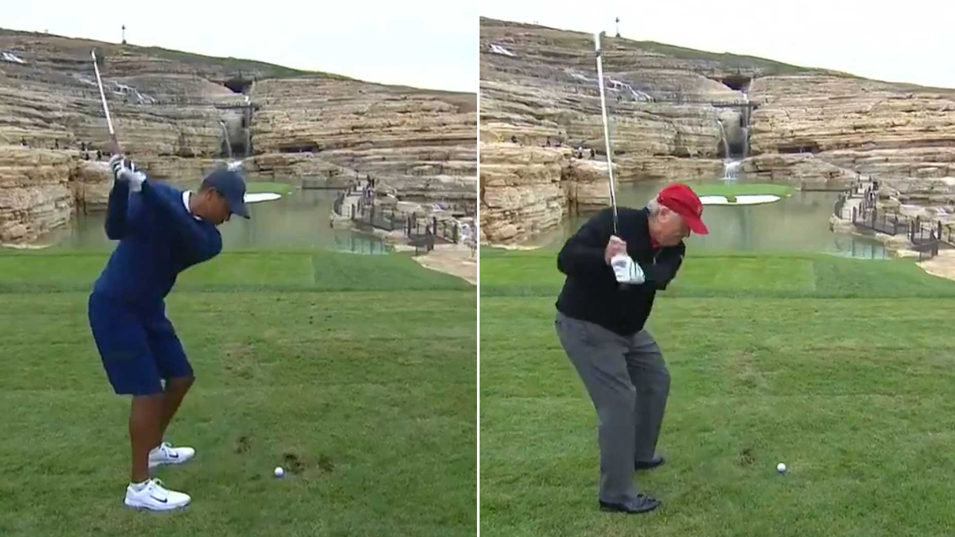 Watch Tiger Woods, Jack Nicklaus take on 19th 'bonus hole' at Payne's Valley