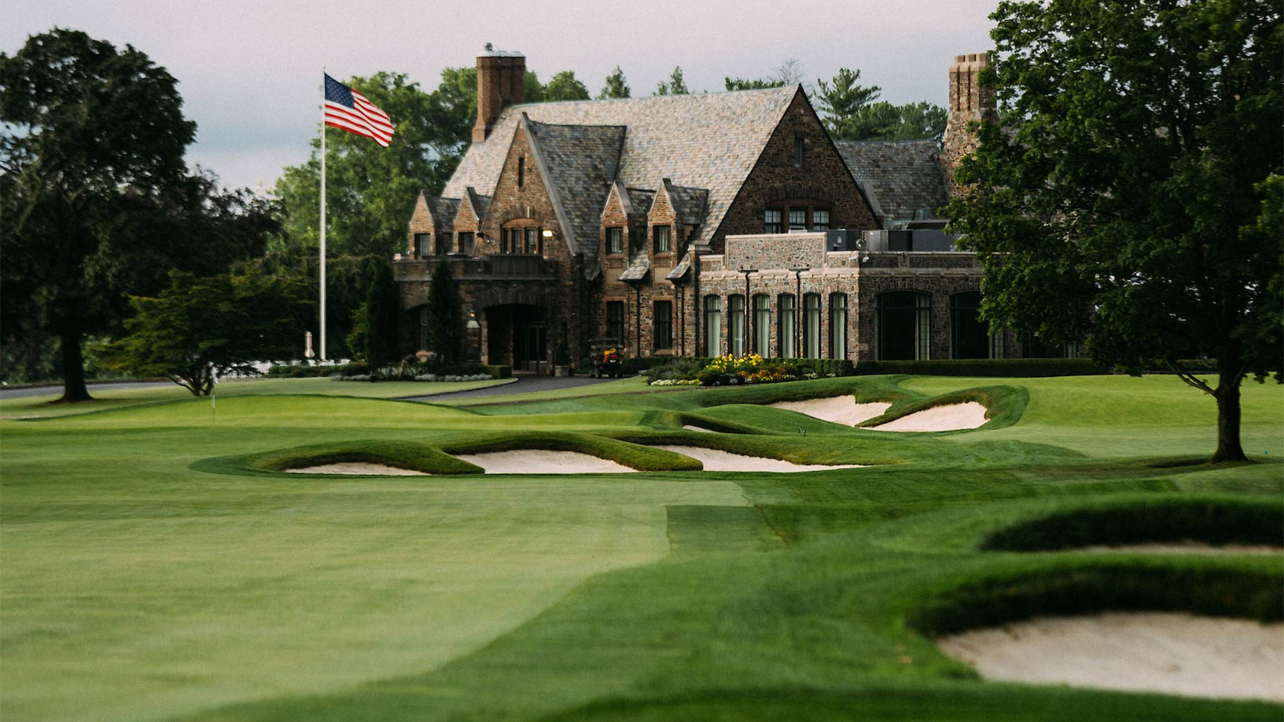 A view of the 9th hole and clubhouse at Winged Foot.