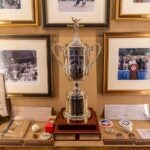 U.S. Open trophies, tournament-used gear, vintage merchandise and more are on display in the Winged Foot Clubhouse.