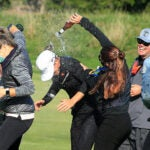 Mel Reid celebrated in style after her maiden LPGA victory.