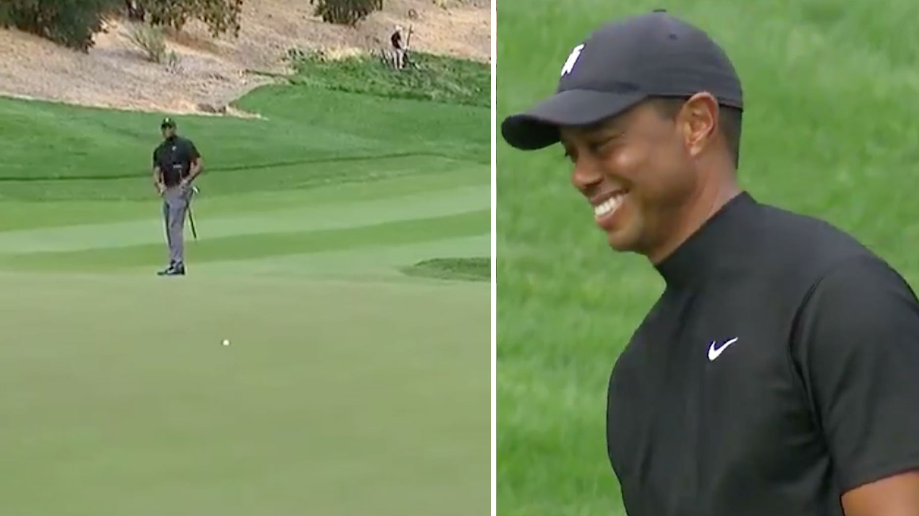 Tiger Woods can only laugh after holing putt from nearly 100 feet