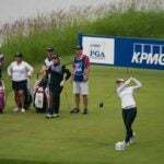 Pro golfer Hannah Green tees off during 2019 KPMG Women's PGA