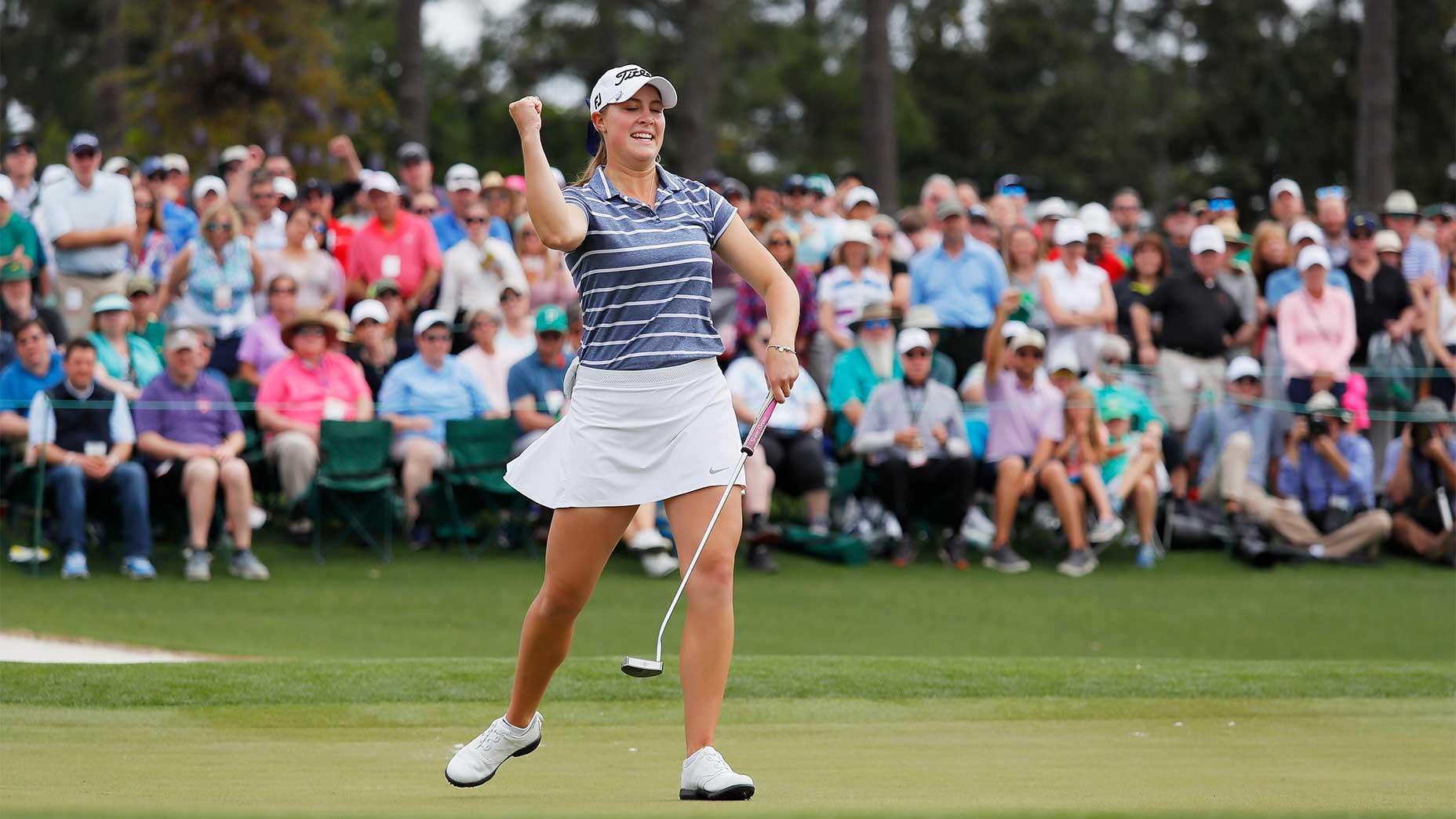 Jennifer Kupcho reacts after winning at Augusta.