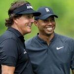 tiger woods and phil mickelson laugh