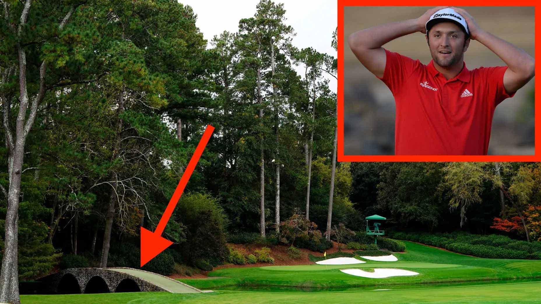 Jon Rahm and the 12th hole at Augusta National