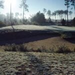 Frost on a golf course.