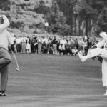 Jack Nicklaus and his caddie celebrate at the 1966 Masters.