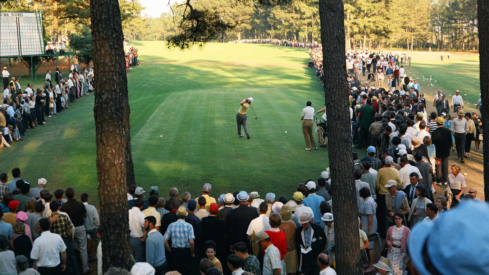 Jack Nicklaus tees off at the 1966 Masters.