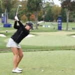 Jennifer Kupcho tees off at the 2020 KPMG Women's PGA Championship at Aronimink Golf Club on Oct. 10, 2020, in Newtown Square, Pa.