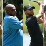Phil Mickelson, Charles Barkley, Steph Curry, Peyton Manning playing golf