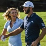 paulina gretzky smiles at dustin johnson