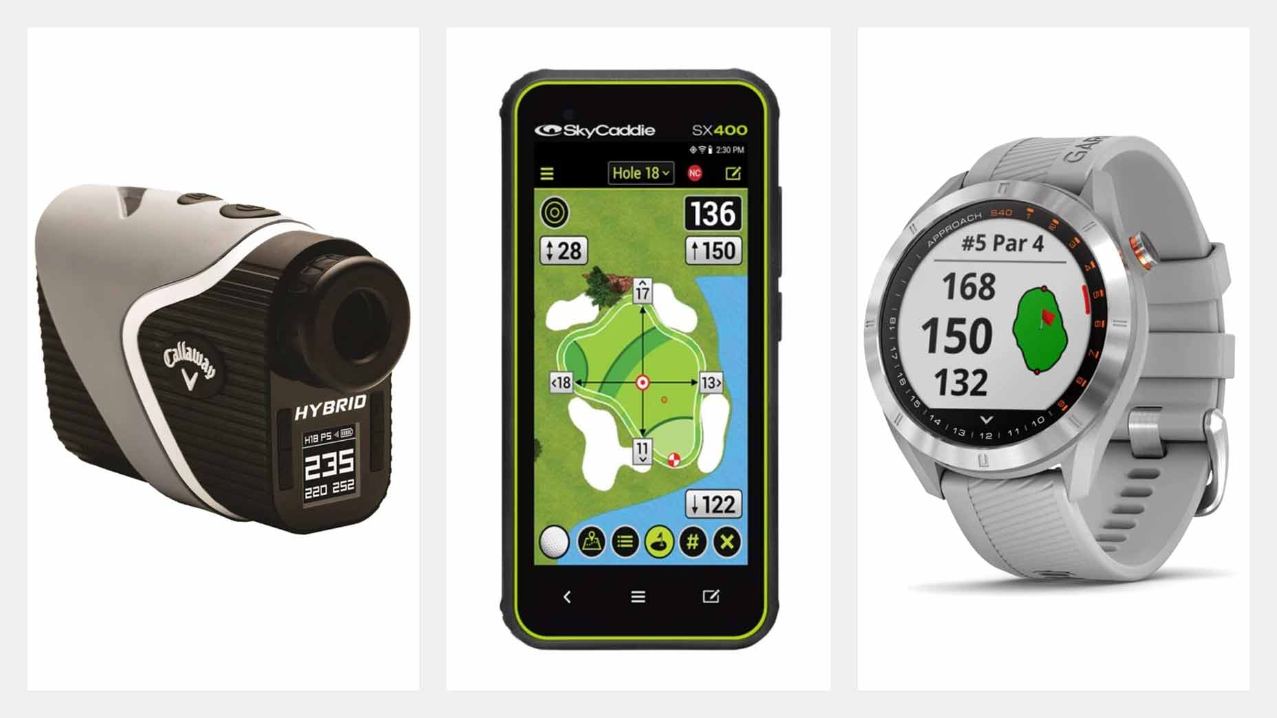 Golf rangefinders and GPS watches.