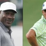Michael Jordan and Rickie Fowler on the golf course.