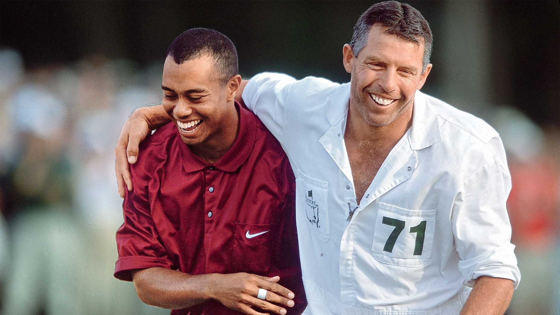 Tiger Woods and Steve Williams at the 2001 Masters.