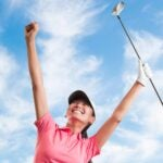 womens' golf celebration