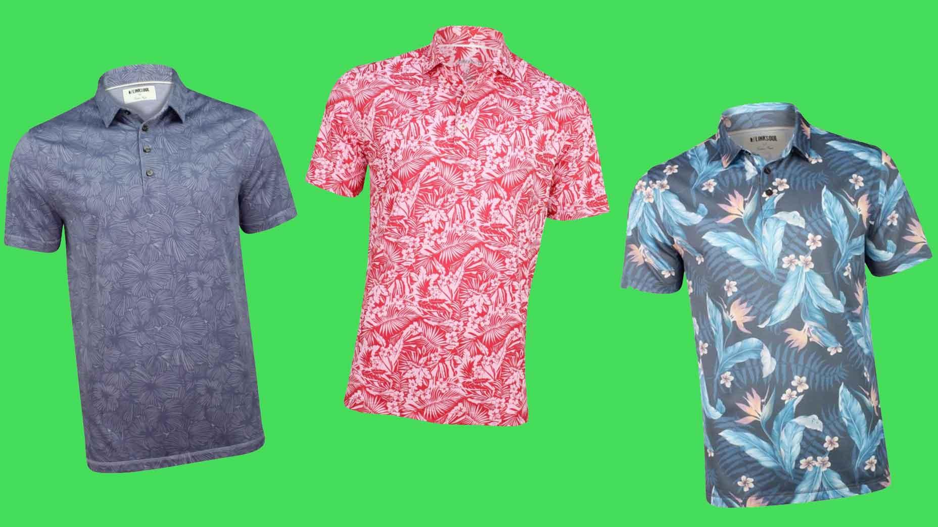 Tropical print polos