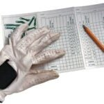 golf scorecard and glove