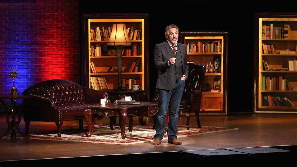 david feherty talks on stage