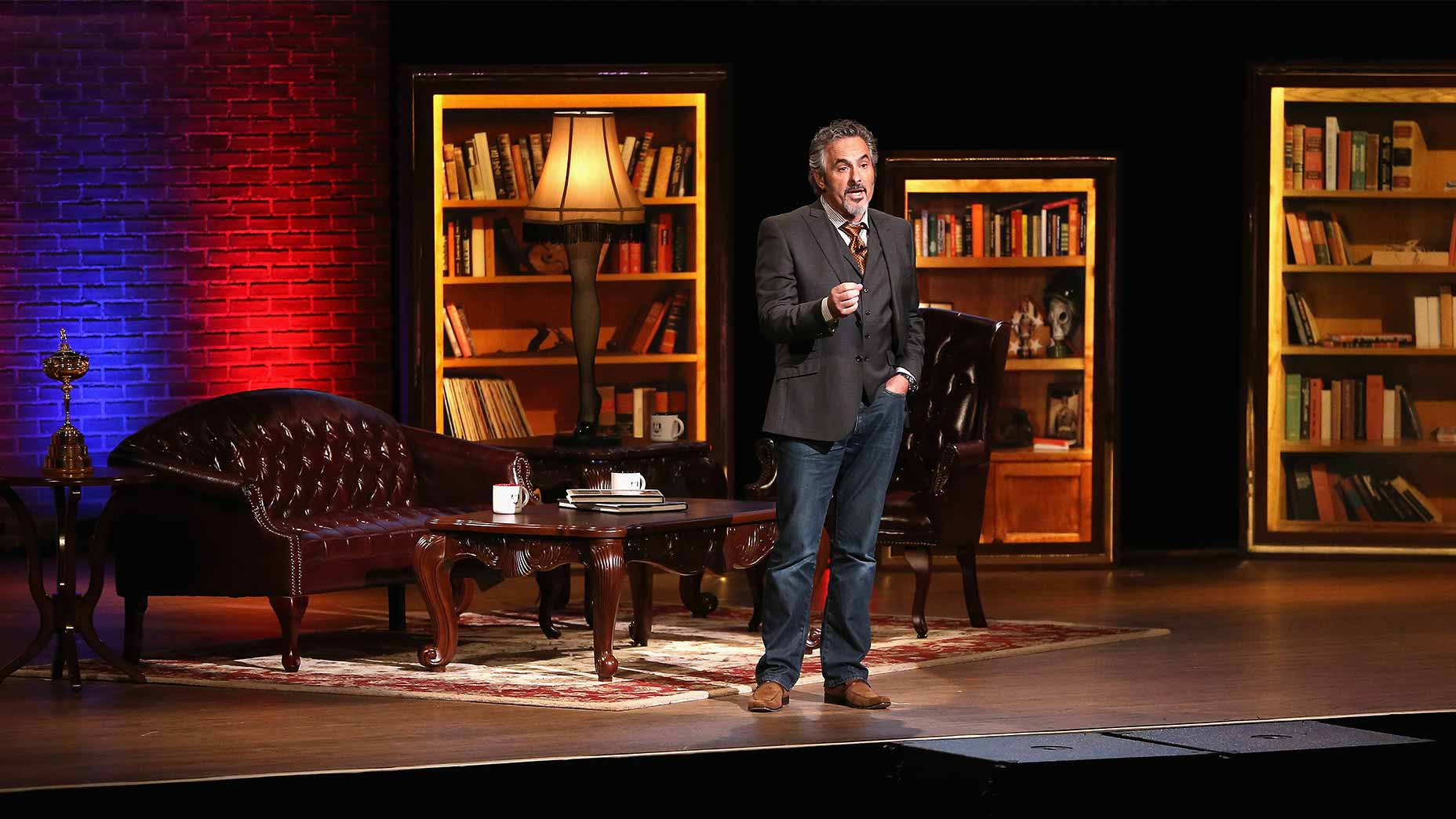 david feherty talks on stage