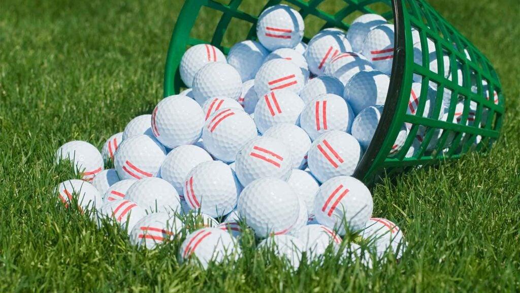 golf balls on the range