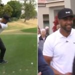 Tony Finau hits a huge drive at the 2021 American Express