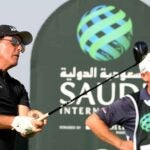 phil mickelson swings driver saudi international