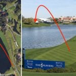 Bryson DeChambeau is contemplating an interesting line off the 18th tee at TPC Sawgrass.